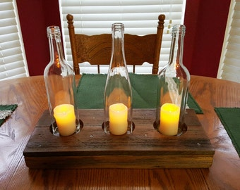 Handcrafted Wine Bottle Candle Holder