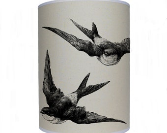 Swallow shade/ lamp shade/ ceiling shade/ drum lampshade/ lighting/ birds