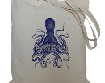 Tote bag/ drawstring bag/ cotton bag/ material shopping bag/ cotton bag/ Blue octopus/ nautical/ sea/ market bag