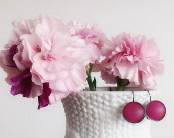 Fuchsia Pink Frosted Glass Dangle Earrings Gunmetal Lever Back  Boho Minimalist Jewelry