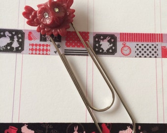 Red owl page marker with rhinestone eyes