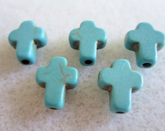 7 - Synthetic Howlite Turquoise Cross Beads