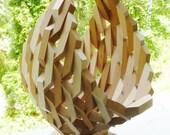 Geometric Cherry Wood Segmented Fruit Basket