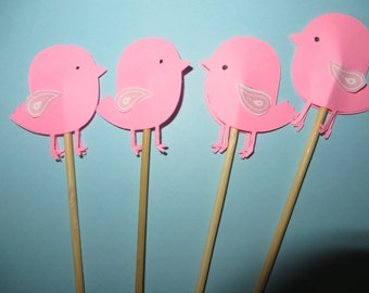 "12 pink baby bird party picks - perfect for the ""It's a Girl"" baby shower!"