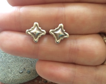 Silver Square Studs - Sterling Silver Square Embrace Studs