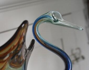 VINTAGE Art Glass SWAN Hand Blown