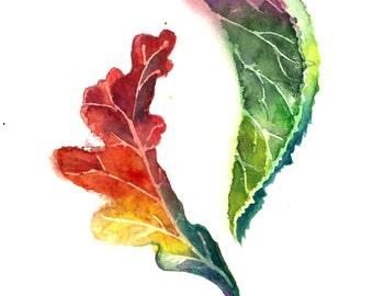 Leaves Original Watercolor Painting, Oak and Linden Leaves, Watercolour Art