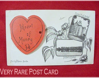 Muncy Pennsylvania - 1907 RARE Heart of Muncy Pa Postcard - Opening Heart With Fold Out Photos - High School Church River Etc FREE SHIPPING