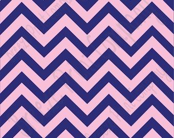 Navy blue and light pink chevron craft  vinyl sheet - HTV or Adhesive Vinyl -  large zig zag pattern   HTV5002