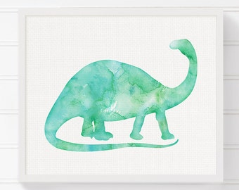 Brontosaurus, Nursery Wall Decor, Kids Room Decor, Watercolor Dinosaur, Dinosaur Art, Dinosaur Print, Dinosaur Painting, Baby Boy Nursery