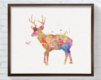 Colorful Deer, Deer Art, Deer Print, Watercolor Deer, Deer Painting, Woodland Decor, Nursery Wall Decor, Forest Animals, Deer Poster, Framed