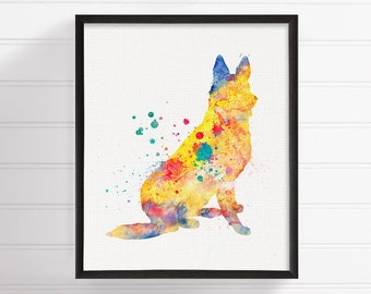 Colorful Watercolor German Shepherd, German Shepherd Print, German Shepherd Painting, German Shepherd Poster, Dog Lover Gift, Dog Art Print