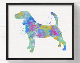 Beagle Art, Beagle Print, Beagle Poster, Watercolor Beagle, Dog Art Print, Dog Wall Art, Kids Room Decor, Nursery Wall Decor, Pet Lover