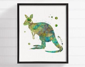 Kangaroo Art, Watercolor Kangaroo, Kangaroo Print, Kangaroo Painting, Kangaroo Poster, Nursery Wall Decor, Australian Animal, Kids Room Art