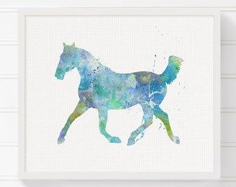 Horse Art - Horse Painting - Horse Print - Watercolor Horse - Horse Poster - Nursery Wall Decor, Living Room Decor, Watercolor Animal, Blue