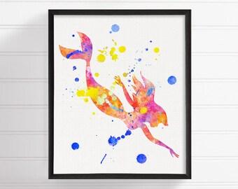 Mermaid Art Print, Watercolor Mermaid, Mermaid Painting, Mermaid Wall Art, Fantasy Art, Baby Girl Nursery, Girls Room Decor, Nursery Art