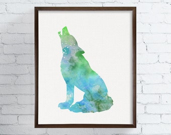 Howling Wolf Print, Wolf Poster, Wolf Wall Decor, Wolf Wall Art, Wolf Silhouette Print, Watercolor Wolf, Watercolor Print, Wolf Painting
