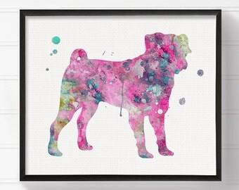 Pink Pug, Watercolor Pug Painting, Pug Art Print, Pug Poster, Dog Wall Art, Dog Art Print, Dog Poster, Kids Room Decor, Dog Girls Room Decor