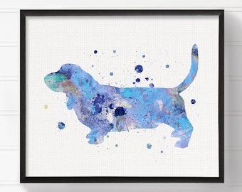 Blue Basset Hound Painting, Basset Hound Watercolor, Basset Hound Art Print, Dog Wall Art, Dog Poster, Boys Room Decor, Baby Boy Nursery