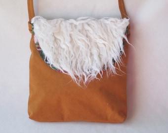 Shoulder Bag - Scottish Plaid & Tan Ultrasuede - Fake Fur - Birthday Gift for Her