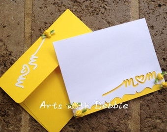 Mother's Day Card/Handmade mother's day card/ Yellow Mother's day card