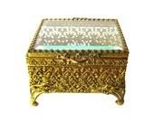 Ormolu Beveled Glass Jewelry Casket Box - Trinket Box - Dressing Table Box - Vanity Glass Box