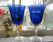 Set of 2 Cristal D' Arques Durand Sapphire Wine Glass Goblets, Cobalt Blue Bowl, Clear Stem - Luminarc Casual Settings - Pristine Condition