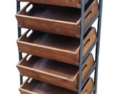 Vintage Industrial Storage Shelving Unit with rustic Totes Oak finish boxes