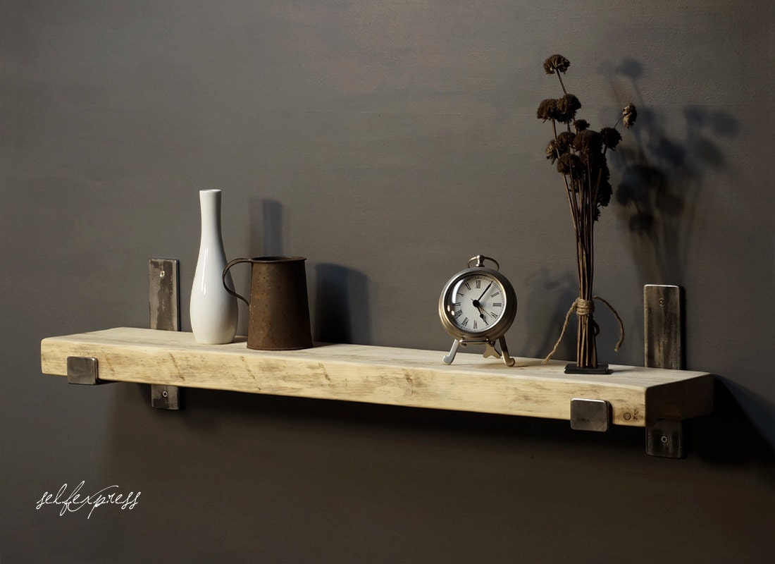 Very Impressive portraiture of Wood Shelf w Metal Brackets Rustic Reclaimed by SELFEXPRESS with #8C753F color and 1100x800 pixels