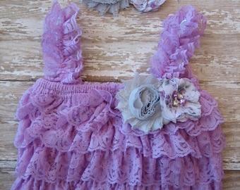 Lavender romper, lavender petti romper, lace petti romper, purple romper, baby romper, baby petti romper, newborn photo prop, first birthday