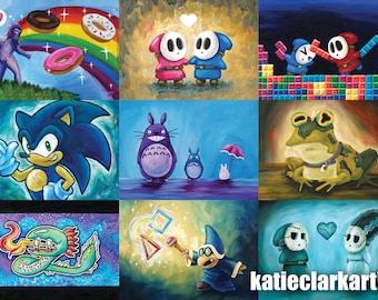 Mini Print - 5 x 7 Art Print of Original Painting - Nintendo Art - Video Game - Original Art - Small Prints - Katie Clark Art
