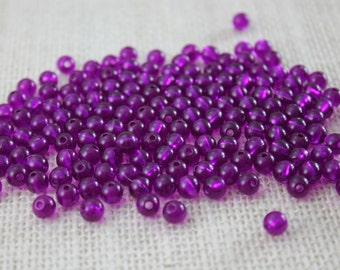 Vintage Purple Transparent 6mm Beads (48 Pieces)