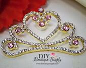 Large PINK and Gold Crystal Princess Crown Rhinestone Flatback Tiara Crown Embellishment Rhinestone Button Bow Headband Supplies 55mm 923100