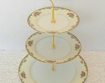 "Vintage Noritake Dessert Stand,  Cake Stand, Wedding Stand,        Pastry Stand, Cupcake Tray, Dessert Tray - ""Vasona"" 1920's"
