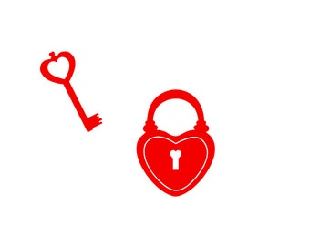 Heart Lock and Key Laptop Decal