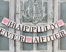 Wedding Banners-HAPPILY EVER AFTER Sign-Rustic Barn Wedding Decorations-Engagement Decor-Custom Colors-Photo Prop-Car Sign-Sign