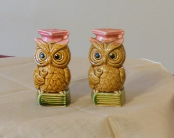 Vintage Wise Owl Salt & Pepper Shakers