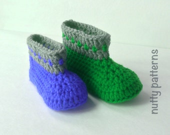 CROCHET PATTERN Boots with Dots Instant Download Pattern #456 Double Sole * for children * easy *