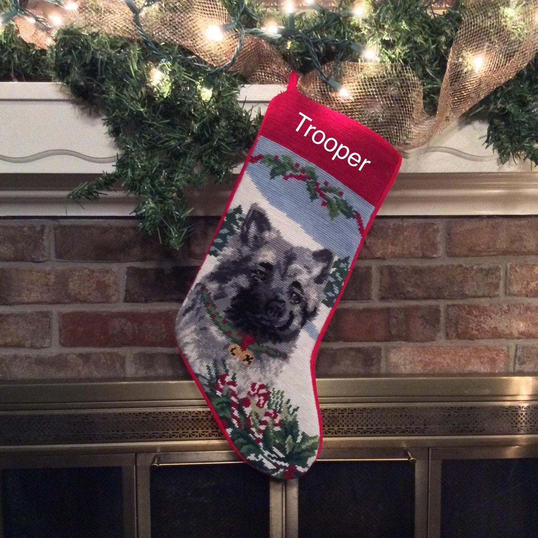 Keeshond needlepoint christmas stockings personalized dog for Personalized dog christmas stocking