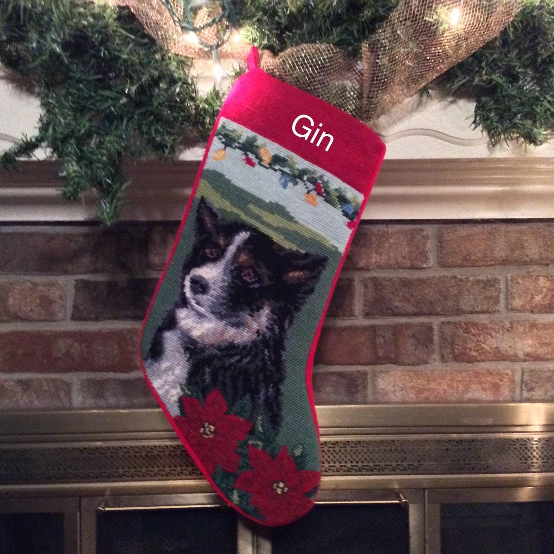 Border collie needlepoint dog christmas stocking personalized for Personalized dog christmas stocking