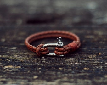 Handmade Braided Leather Bracelet/Armband Mens/Womens Vintage Cognac