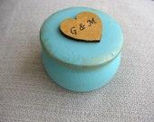 Personalized Ring Box - Turquoise Gold Wedding Ring Box - Engagement Box - Tiny Ring Holder - Something Blue Ring Bearer - Forever Box
