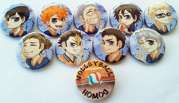 Haikyuu 1.75inch Chibi Buttons Set or Single