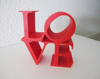 3D Printed Home Decor LOVE MEDIUM Block Sculpture Pop Art Iconography Kitsch Poems Iconic Image Letters Alphabet 3-D Print Geekery