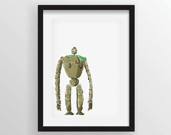 Laputa Robot from Castle in the Sky - Premium Poster Print in Unique Painted Brush Style - A3 and 13 x 19 Available