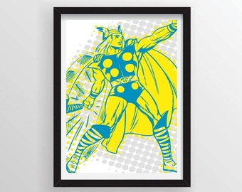 8.5 x 11 Thor Poster in Comic Book Halftone Style