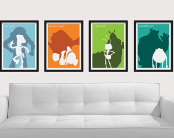 8.5 x 11 Pixar Movies Poster Set - Includes 4 Premium Posters: Toy Story, Finding Nemo, A Bug's Life, and Monsters, Inc.