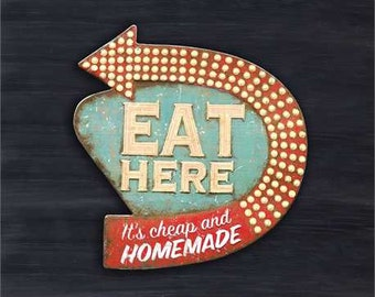 "Tin ""Eat Here"" Sign"