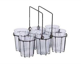 Wire Rack with 6 Glasses