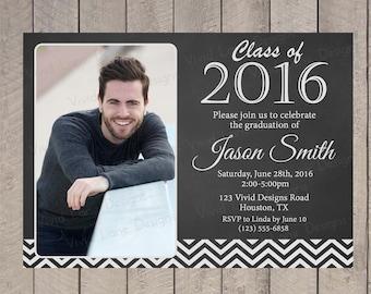 Graduation Invitation, Chalkboard, Chevron, Graduate, Party, Celebration, Ceremony - 7007